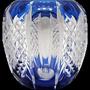Val St. Lambert Blue Cut to Clear Art Glass Vase