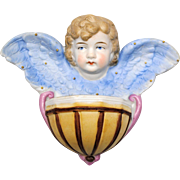 German Bisque Porcelain Angel Holy Water Font