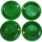 4 Vintage Fiesta Medium Green 9.5 inch Luncheon Plates