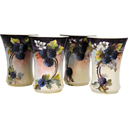 4 Hand Painted China or Porcelain Tumblers with Blackberry Decoration
