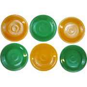 6 Vintage Fiesta Original Colors Green and Yellow Bread and Butter Plates