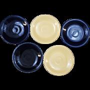 5 Vintage Fiesta Cobalt Blue and Ivory Original Colors Bread & Butter Plates