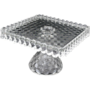 Fostoria AMERICAN Square Clear Pedestal CAKE PLATE Salver Rum Well Glass Stand