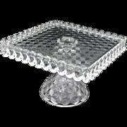 Fostoria AMERICAN Square Clear Pedestal CAKE PLATE Salver Rum Well Glass Stand