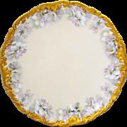 T&V Limoges France Large Round Chop Plate Charger or Serving Platter Pink Wild Roses