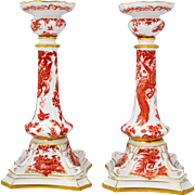 Pair of Royal Crown Derby Red Aves 10.5 inch tall Candlesticks Candle Stick