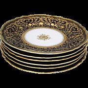 Set of 6 Nippon Cobalt Blue and Raised Gold Dinner Plates