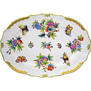 Herend Porcelain Queen Victoria 13.25  inch Serving Platter Flowers & Butterflies