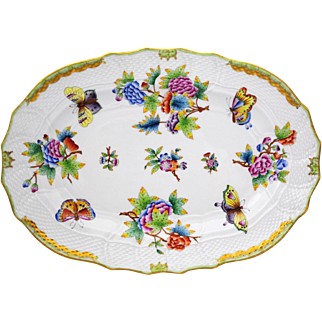 Herend Porcelain Queen Victoria 13.25  inch Serving Platter Flowers & Butterflies