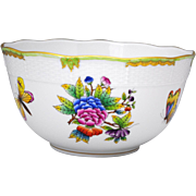 Herend Porcelain Queen Victoria 7.5 inch Diameter Serving Bowl Flowers & Butterflies