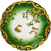 T&V Limoges Holly Holly Berry Christmas Plate 8.5 inches