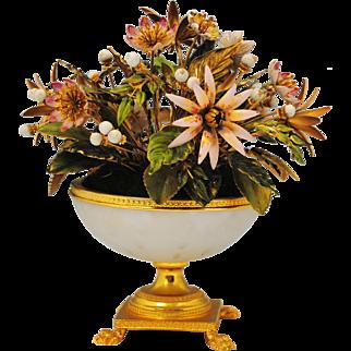 Jane Hutcheson Jeweled Enamel Flowers White Opaline Paw Foot Vase