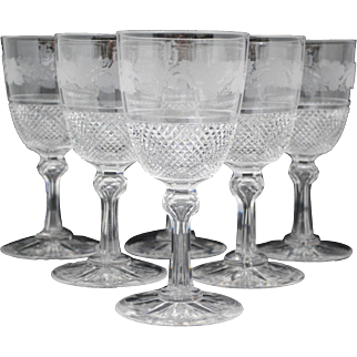 Set of 6 Cut Glass and Engraved Water Goblets or Wine Glasses Stems or Stemware