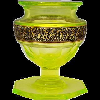 Signed Moser Karlsbad Vaseline Glass Vase with Etched Band of Amazon Women