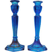 Pair of Fenton Celeste Blue Iridescent  Stretch Glass Candlesticks
