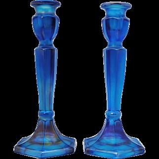 Pair of Fenton Celeste Blue Iridescent  Stretch Glass Candlesticks