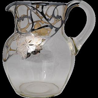Sterling Silver Overlay Glass Lemonade or Beverage Pitcher