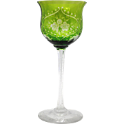 Green Cut to Clear Art Glass Wine Goblet Stem Stemware