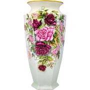 B & Co. Limoges France Hand Painted 15 inch Vase with Red and Pink Roses
