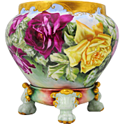 Limoges France Jardiniere Planter on Claw Foot Stand Hand Painted Roses