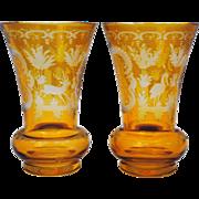 Pair of Amber Bohemian Deer Stork & Castle Engraved Glass Vases