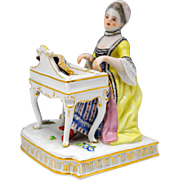 Meissen Figure of a Woman Playing a Piano or Harpsichord