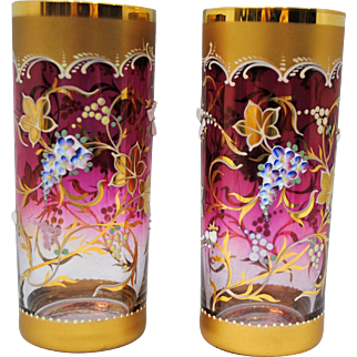 Pair of Moser Style Cranberry Art Glass Tumblers with Heavy Enamel Decoration
