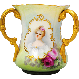 Willets Belleek Hand Painted 3 Handle Loving Cup with Portraits of 3 Woman & Roses