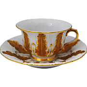 Meissen Gold & White Demitasse Cup and Saucer