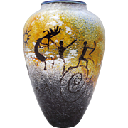 Richard Satava Petroglyph Cave Drawing Contemporary Art Glass Vase