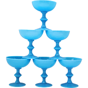 Set of 6 Portieux Vallerysthal PV French Blue Opaline Champagne or Sherbet Glasses Stemware