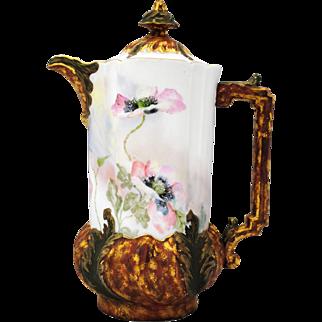 Leonard Vienna Austria Hand Painted Poppies Porcelain Chocolate or Coffee Pot