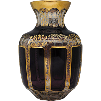 Moser Amethyst or Purple Cabochon Cut to Clear Bohemian Art Glass Vase Gold Decoration