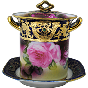 Nippon Condensed Milk or Jam Jar Hand Painted Roses Jewels & Gold on Cobalt Blue