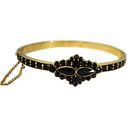 Victorian Gold Filled Bohemian Garnet Hinged Bangle Bracelet