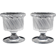 Pair of Lalique Smyrne Cigarette Table Lighter Holders or Candles