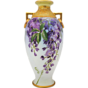 Large 11.5 inch Nippon Hand Painted Vase with Purple Wisteria and Raised Gold Decoration