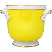 Mottahedeh Vista Alegre Yellow White and Gold Flower Cache Pot Jardiniere