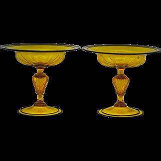 Pair of Venetian Amber Art Glass Compotes with Black Trim Murano Italian