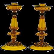 Pair of Venetian Amber Art Glass Candlesticks with Black Trim Murano Italian