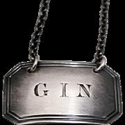 British Sterling Silver Gin Bottle Tag Label 1835-36