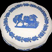 Wedgwood Round Jasperware Trinket Box Reverse Blue on White Decoration
