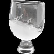 Vintage Orrefors  Skiers & Reindeer Frosted Etched Art Glass Vase Sven Palmquist