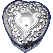 Sterling Silver and Crystal Heart Shape Trinket or Pill Box