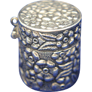 Sterling Silver Floral Repousse Chatelaine Pill Box