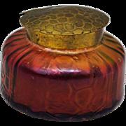 Loetz Kralik Era Bohemian Art Glass Iridescent Red Inkwell