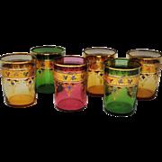 Set of 6 Signed Moser Enameled Art Glass Tumblers
