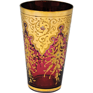 Moser Style Cranberry Red Art Glass Tumbler with Gold and Enamel Flower Decoration
