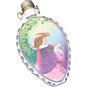 Bohemian Art Glass White Cut to Clear Flask with Enamel Decoration