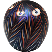 Vandermark Peacock Feather Contemporary Art Glass Paperweight 1978